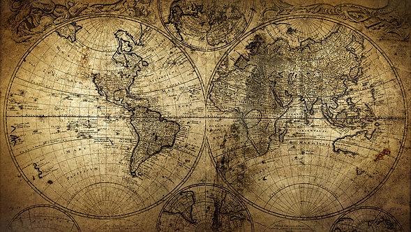 Старинная карта с полушариями и полюсами