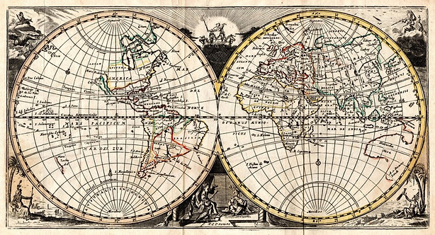 Старинная карта мира с полушариями
