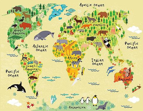 Рисованная карта мира с животными для детей и малышей