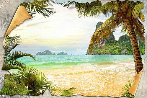 Фотообои. Фрески. Картины. Морской пейзаж. Пальмы. Пляж. Вид на море
