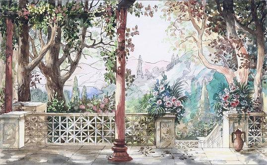Фреска. Терраса. Колонны. Цветы. Деревья. Вид на горы. Акварельный пейзаж