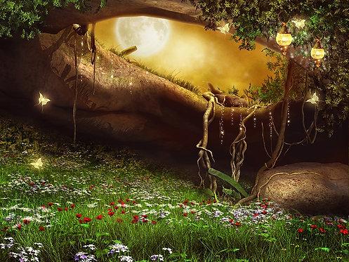 Заколдованная пещера с цветами, фонарями и бабочками