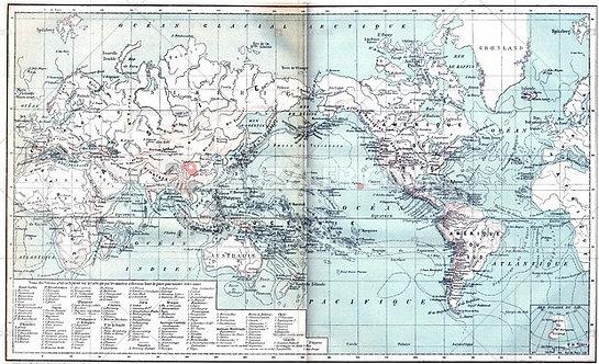 Старая карта мира с легендой