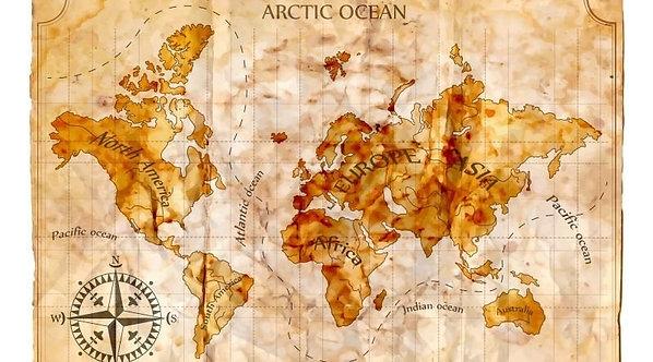 Карта мира с названием материков и океанов в ретро-стиле