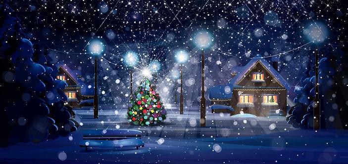 Зимний рождественский ночной сюжет