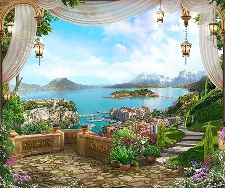 Фреска. Терраса. Цветы. Каменные ступени. Вид на побережье. Шторы. Фонари. Сад