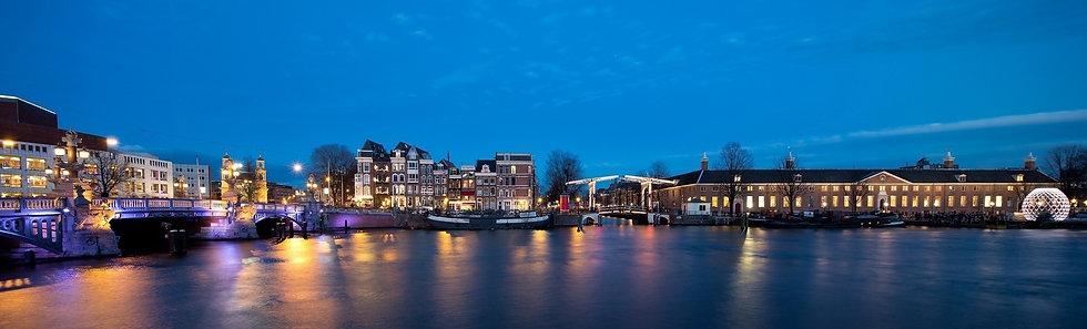 Панорамный ночной вид Амстердама