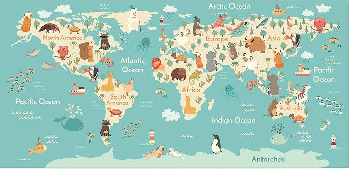 Карта мира с животными и веселыми красочными иллюстрациями для детей