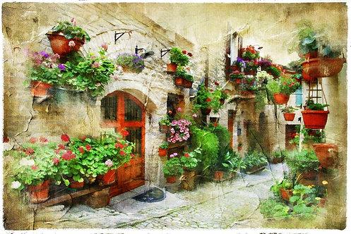 Цветочная улочка старого итальянского городка