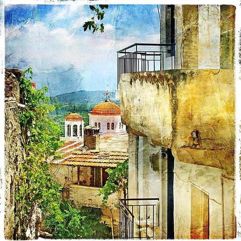 Греческая улица и монастырь в живописном стиле