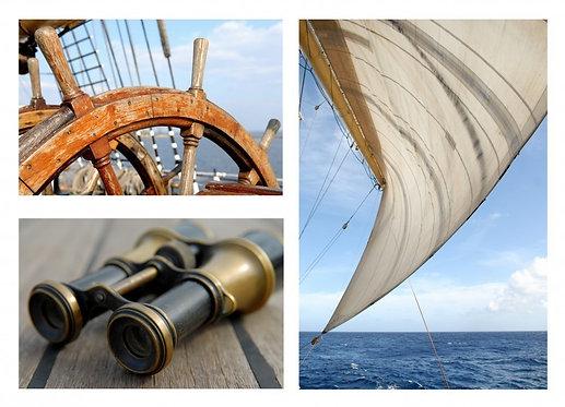 Штурвал корабля, бинокль и парус