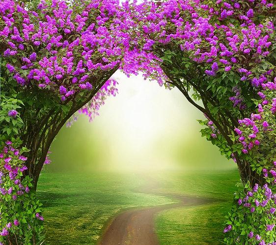 Весенний пейзаж с дорогой через арку из сирени