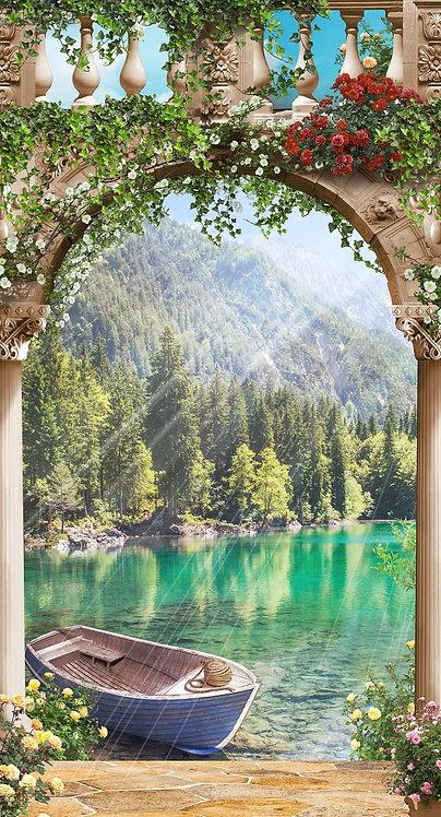 Фреска. Каменная арка. Цветы. Лодка. Вид на горы и озеро