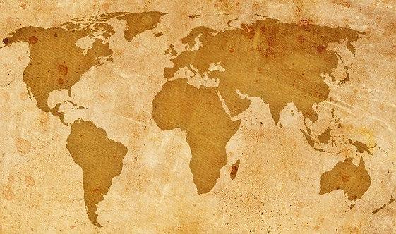 Старинная карта мира в виде силуэтов материков