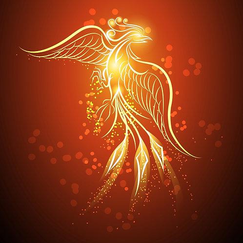 Жар-птица на темно-красном фоне