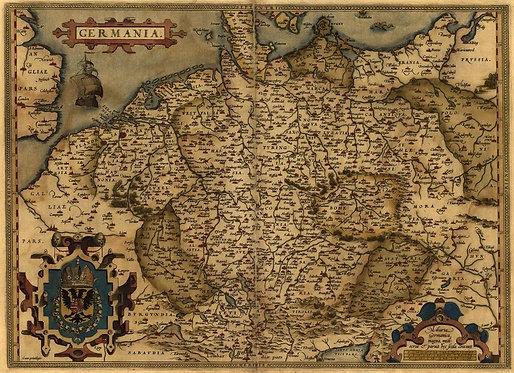 Старинная карта Германии Абрахама Ортелиуса