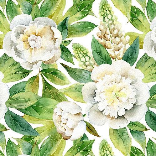 Белые пионы с зелеными листьями акварелью
