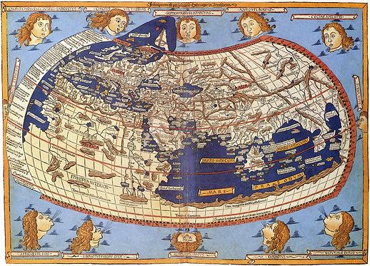 Старинная карта мира Клавдия Птолемея