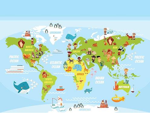 Детская карта мира с людьми различных национальностей и животными