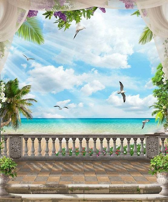 Вид с террасы на море и пляж