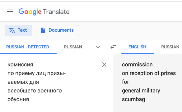 Translating from Russian