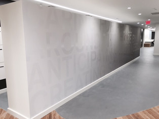 Cut vinyl text (gloss lam) over printed vinyl wallpaper (matte lam)