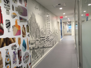 Cut vinyl illustration and printed vinyl wallpaper