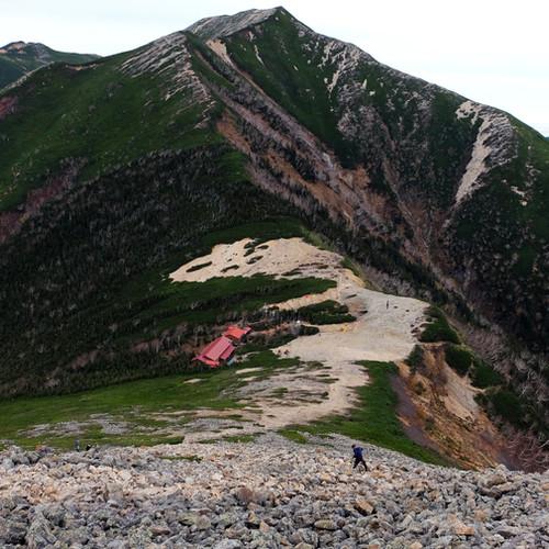 Looking Back at the Jonen Mountain Hut, Nagano