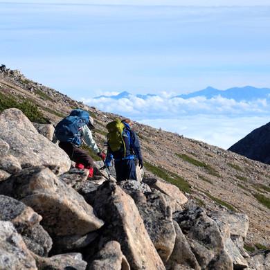 Navigating Boulders on the way to Mt. Jonen, Nagano