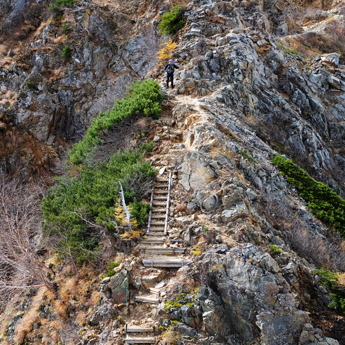 Fixed Ladder on the Climb to Mt. Otensho, Nagano