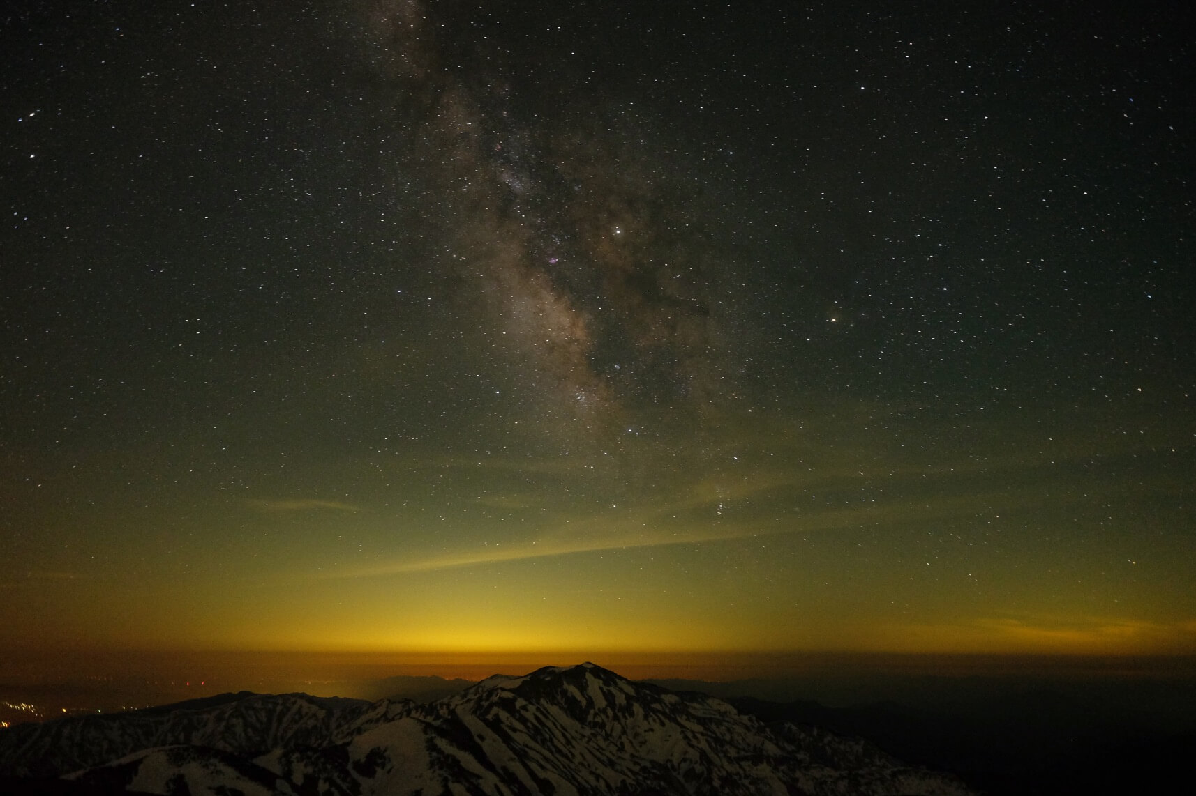 The Milky Way Over Mt. Bessan as seen from Mt. Haku (Hakusan), Ishikawa