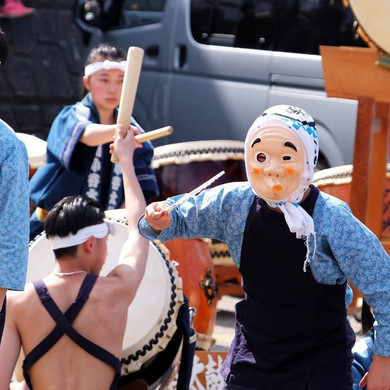A Children's Taiko Drum & Dance Team Performing at the Finish, Salt Road Festival, Nagano