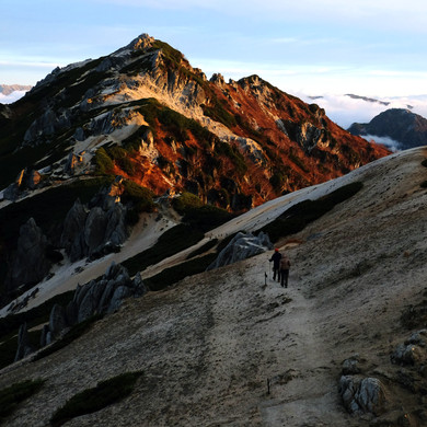 Alpenglow on Mt. Tsubakuro, Nagano