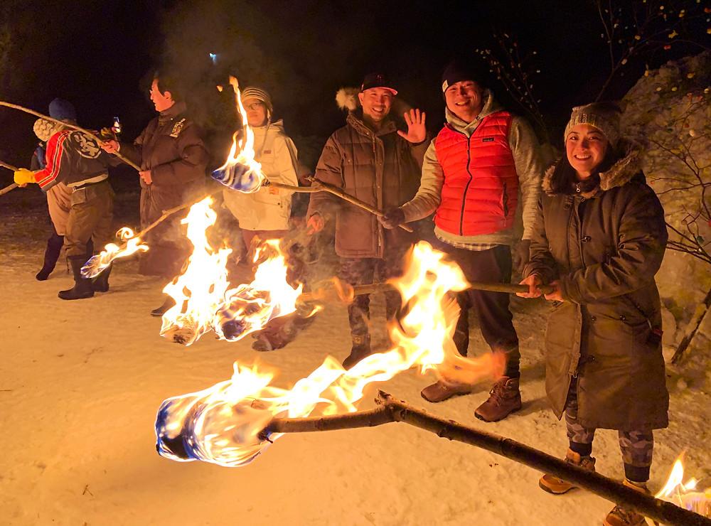 Japanese Snow Festival Bonfire, Otari, Nagano