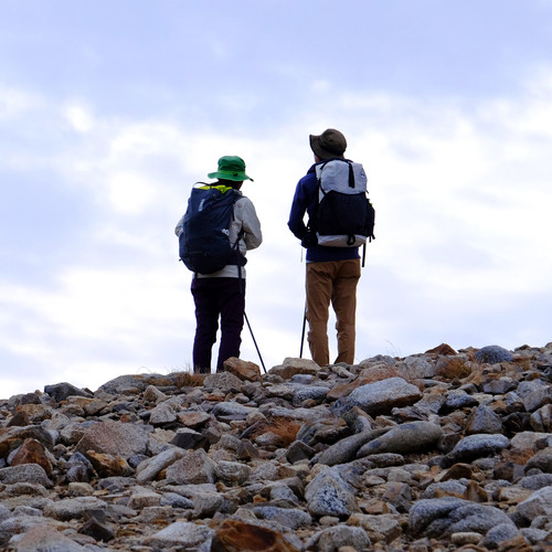 Hikers on the Approach to Mt. Jonen, Nagano