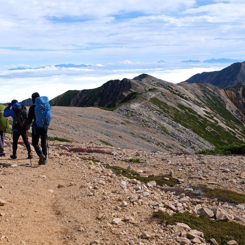 Hikers on the Panorama Ginza Trail, Nagano