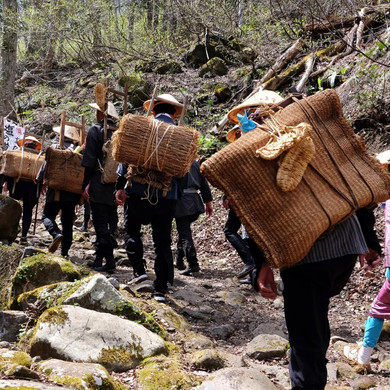 Costumed Participants on the Rocky Trail Towards Tsugaike, Salt Road Festival, Nagano