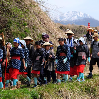 Walkers on the Final Section of the Salt Road Festival Route, Nagano