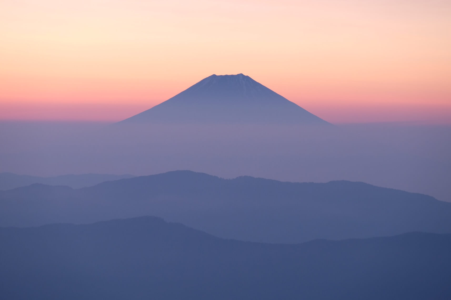 Mt. Fuji at Sunrise from Mt. Tekari, Southern Alps, Nagano