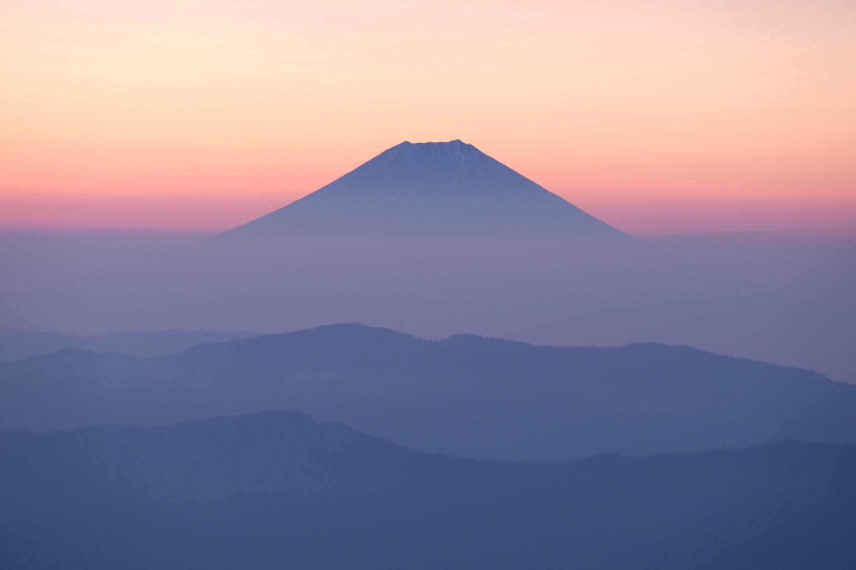 Mt. Fuji at Sunrise from Mt. Tekari, Southern Alps, Nagano