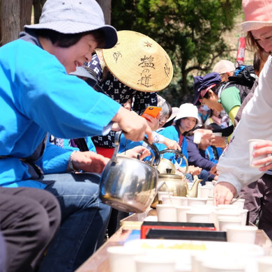 Locals Offering Free Tea During the Salt Road Festival, Nagano