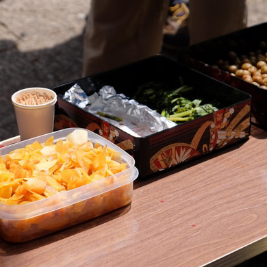 Homemade Pickled Vegetables Being Handed Out During the Salt Road Festival, Nagano