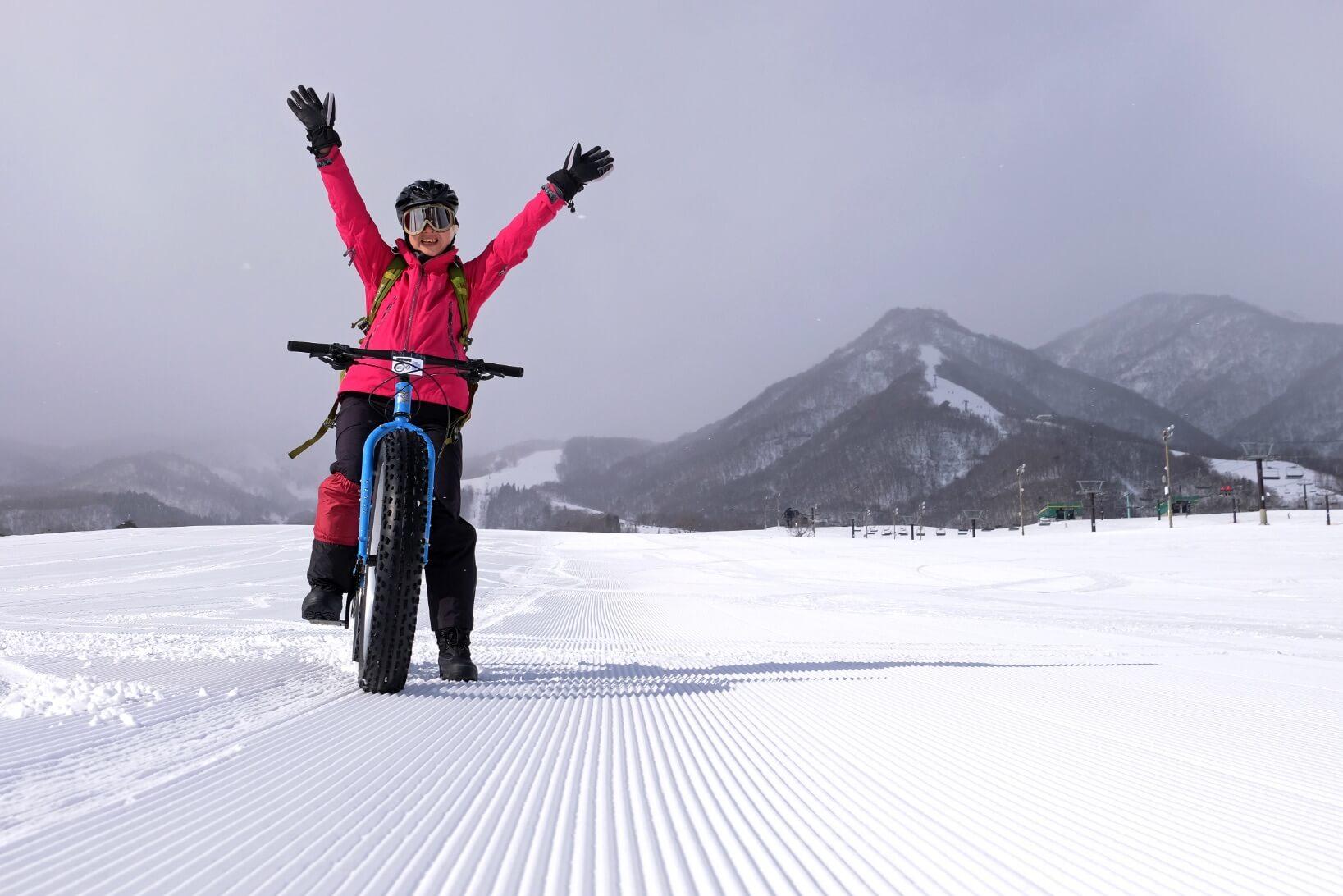 Fat Biking on the Slopes of Tsugaike Kogen Ski Resort, Nagano