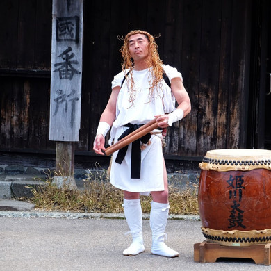 A Lone Taiko Drummer Along the Festival Route, Salt Road Festival, Nagano