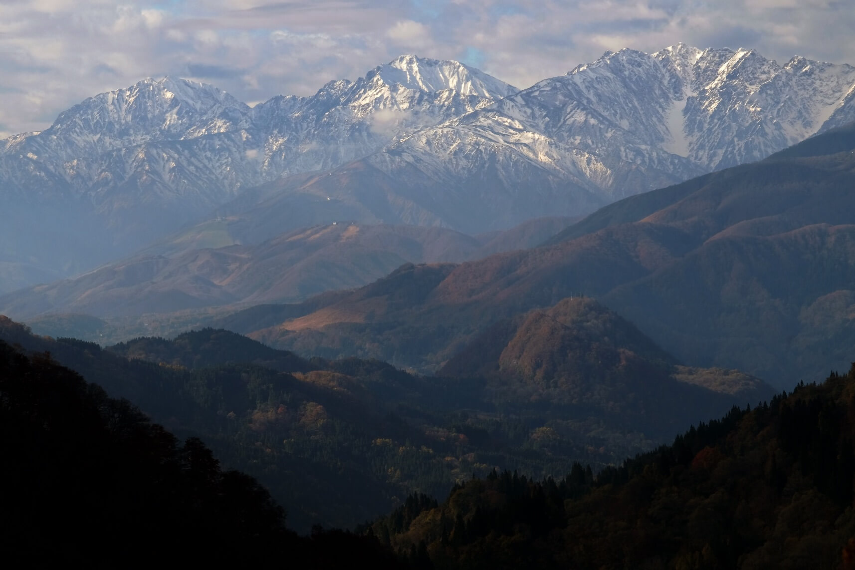 The Northern Alps in November from Otari Village, Nagano