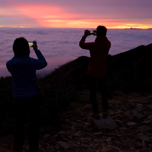 Hikers Enjoying the Sunrise from Near Mt. Jonen, Nagano