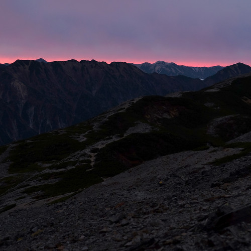 The Last Light of Day from Mt. Cho, Nagano