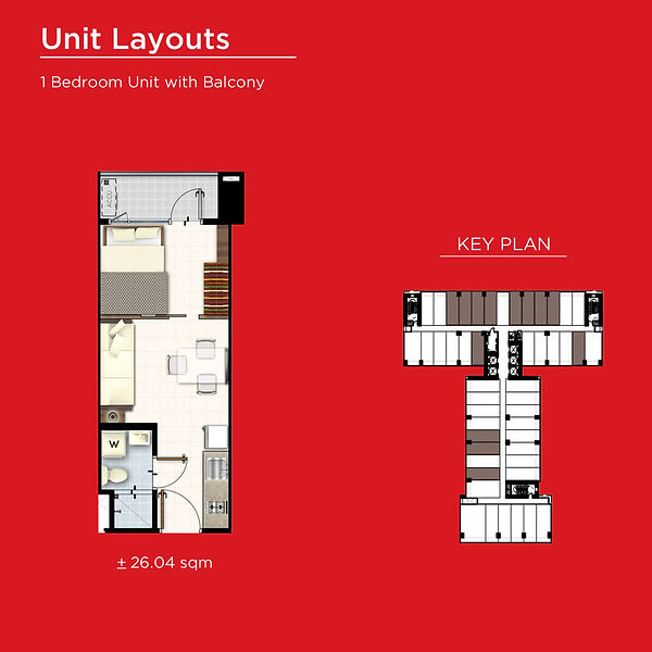 Red Residences 1 Bedroom with Balcony.jp
