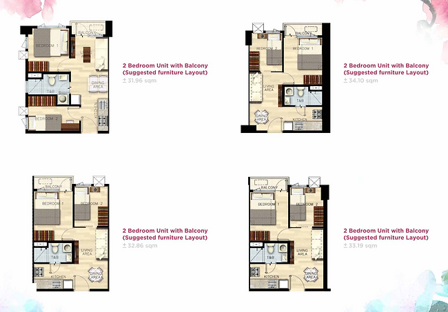 Bloom Residences 2 bedroom with balcony.