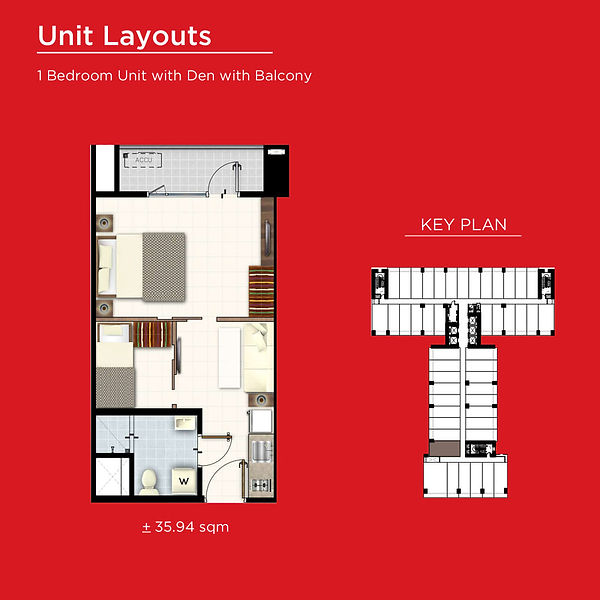 Red Residences 1 Bedroom with Den and Ba